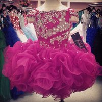 Wholesale Flower Girls Dresses Crystals Short Little Girl s Beauty Pageant Infants Kids Formal Wear Cheap Glitz Cupcake Dark Fuchsia Ball Gowns