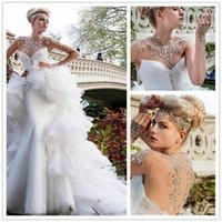 Wholesale Glamorous High Neck Long Sleeve Mermaid Wedding Dresses With Detachable Train Rhinestones Crystals Sheer Bridal Gowns Vestidos de Novia