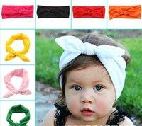 baby girl head scarf - Lovely Girl Bunny Ear Headband Scarf Hair Head Band Cotton Bow elastic Knot Headbands rabbit baby hair accessories colors