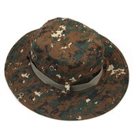Wholesale Men Outdoor Quick Dry Breathable Fishing Hats Military Camouflage Wide Round Brim Caps Sun Buckle Cap for Hiking