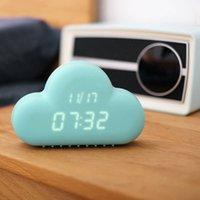 Wholesale Cute Cyan Cloud Shape Sound Control Digital Date USB Students Alarm Clock