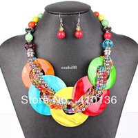 Wholesale BS7004 Fashion Jewelry Sets Shell Pendant Resin Beads Bright Colors Fashion Design Party Gift