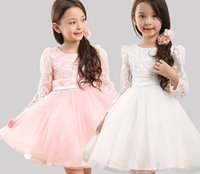 age ball - 2015 Autumn New Arrival Children Princess Dress With Bowknot Lace Sleeve Girls Tulle Dress Kids Party Dress Age T1157