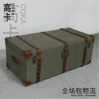 antique wooden trunks - Antique classical vintage furniture European tank type solid wood large coffee table tea table wooden box storage trunk