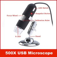 Portátil USB 2MP 50-500x USB Digital del endoscopio del microscopio lupa 8 LED leva de la cámara del ordenador del PC