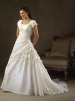 christmas wedding dresses - Vintage Scoop A Line Wedding Dresses Christmas Appliques Lace up Back Sweep Train Plus Size Hand Made Flowers Bridal Gowns BO6954