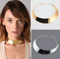beat factory - Factory Price beat simplicity shape metal texture Gold collar necklace jewelry HT