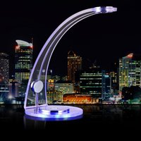 Wholesale 5W Transparent Acrylic Modern Minimalist Curved Desk Lamp Level Dimmable Touch Table Lamp Blue Night Light AC90V V Power FX003