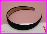 bargain - 10PCS mm quot Black Fabric Covered Plain Plastic Hair Headbands with velvet back at BARGAIN for BULK