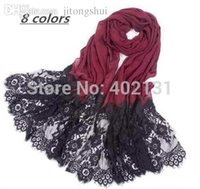 scarf material - winter newest soft cotton with lace material colors plain fashion shawls scarf muslim hijab
