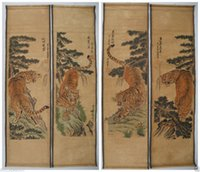 antique chinese scrolls - Chinese painting scroll Tiger Jiang Tingxi tigers Antique paintings