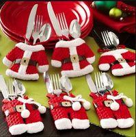 Wholesale 20set Hot Sale Mini Christmas Santa clothes tableware Kitchen Cutlery Suit Holders Porckets Knifes and Folks Bag bottle bag clothes BFH373