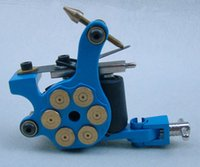 Cheap Wholesale-Quality professional bullet tattoo machine equipment set Cast Iron Tattoo Machine Shader Bullet Design-Blue BD1002-4
