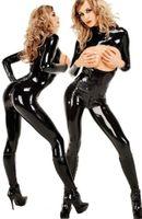 sexy nighty wear - 2015 Sexy Erotic Spandex Stretch Bodysuit Women Jumpsuit PVC Faux Leather Outfit Lingerie Hot Nighty Nightwear DS wear