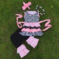 Cheap girls ruffle capri sets Best girls clothing sets