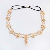 Wholesale New Womens Fashion Metal Chain Jewelry Hollow Rose Flower Elastic Hair Band Headband Jewelry Headwear C6936