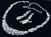 acrylic samples - 2015 Twinkle Plated crystal wedding bridal jewelry sets rhinestone Allloy plated necklace and earrings piece NE037 Sample MYF126