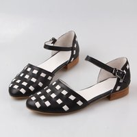 Wholesale 2015 Women Sandals Summer Shoes Flat Heels Ankle Strap Buckle Checkered Genuine Leather