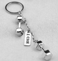 big gym ball - High Quality Metal Rhodium Plated I CAN Tag Key Chain Double Big Dumbbell Fitness Sports DIY Key Chains Gym Bodybuilding Jewelry