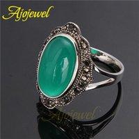 Cheap 010 Personality Female Retro Black CZ Finger Rings Black Green Vintage Stone Ring For Women
