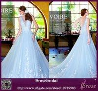 sky blue wedding dress - Charming Light Sky Blue Wedding Dresses Bridal Gowns Lace Appliqued V Neck Sleeveless Ball Gown Bridal Dresses V Back Elegant Wedding Gowns