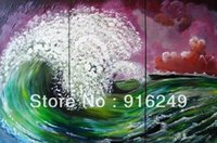 Cheap Free Shipping Framed Modern Wall Art ,Seascape Wave Oil Painting On Canvas, 3 panel canvas art