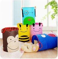 animal bin - 500pcs CCA2993 New Arrival Cartoon Owl Bee Blue Dog Monkey Animal Foldable Clothes Toy Laundry Baskets Bin Storage Bag Mesh Storage Basket