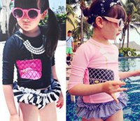 baby girl long sleeve swimsuit - Baby Swimwear Girls Swimsuits Swim Suits Bikini Girl Swimsuit Long Sleeve Tops Children Short Triangle Pant Skirts Pink Black I3935