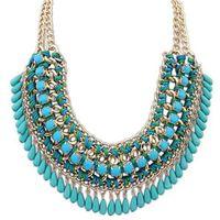 Wholesale Vintage Bohemia Jewelry Necklace New Fashion Acrylic Chain Collar Weave Necklaces amp Pendants Tassel Statement Necklace Women