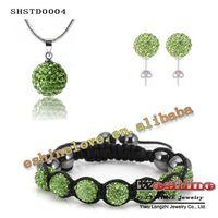 aqua earings - Disco Balls Beads Shamballa Set Crystal Pendant Necklace Bracelet Crystal Stud Earings Set SHSTDmix2