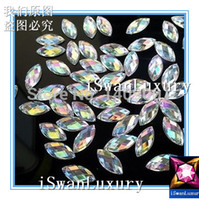 Wholesale Sew Clear Acrylic Rhinestones - Wholesale-:) Top-Rated Best Acrylic Crystal 6x12mm Clear AB Color Navette Marquise Strass Stones Sew-on For Sewing Rhinestones Accessories