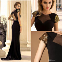Cheap Black Illusion Neckline Mother Dress With Crew Short Sleeve Mermaid Prom Dresses Sashes Beads Sequins Backless Dresses Party Evening
