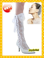 Cheap 2015 Fashion White Lace Wedding bridal Boots knee Boots High heels Dress Boot 2015 Cheap Free Shipping