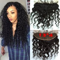 Wholesale Brazilian Lace Frontal Closures Water wave x4 Free parting Full Lace Frontal Unprocessed Human Hair Natural Black