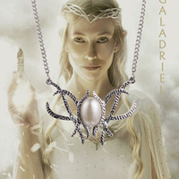 american handmade - lord of the rings Movie Hobbit Jewelry Galadriel Elven Queen pearl Pendant Necklace handmade silve plated Statement Necklaces High Quality