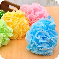 Wholesale High Quality Lace Mesh Pouf Sponge Bathing Spa Handle Body Shower Scrubber Ball Colorful Bath Brushes Sponges In Stock Cheap Z