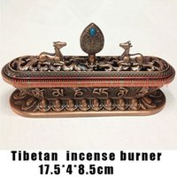 Wholesale Tibet Incense Burner Tibetan Alloy Bronze Incense Burner with Eight Auspicious Symbols Metal Craft Home Decor