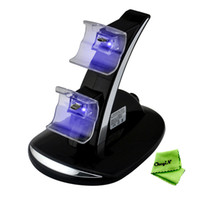 Wholesale NEW LED USB Fast Charging Stand Dock for Dual Microsoft Xbox One Game Controller Black CB04H H30