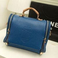 baguette handbags - 2015 new Korean version of the British Crown double pull fashion portable shoulder bag Messenger bag retro handbags