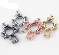 floating charm locket - 55 mm DIY Cross Shape Charm Crystal Alloy Colors Floating Lockets For Women Necklace Fashion Jewelry