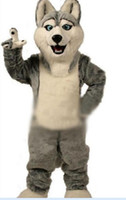 Wholesale 2016 Fancy Gray Dog Husky Dog With The Appearance Of Wolf Mascot Costume Mascotte Adult Cartoon Character Party