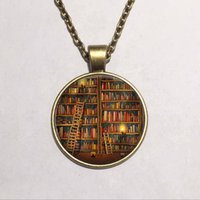 american writers book - She is too fond of books alcott quote cat and Book lover jewelry librarian gift writer teacher book nerd Pendant glass gemstone necklace