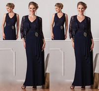 Wholesale 2015 New Elegant Mother s Dresses V Neck Lace A Line Long Chiffon Formal Navy Blue Hot Beach Mother Of the Bride Evening Gowns With Jacket