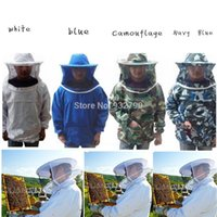 beekeeper hat veil - Protective Beekeeping Jacket Veil Smock Equipment Bee Keeping Hat Sleeve Suit Clothing Beekeeper Clothes White Blue Camouflage order lt no t