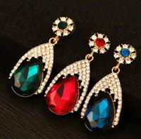 Cheap White Gemstone Drop Earrings Best Alloy Rhinestone Eardrop Ear hook