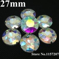 achat en gros de rond de cristal 27mm-Coudre sur 27mm 44Pcs / Pack Crystal Clear AB Couleur Baoshihua Ronde Cristal Fancy Stone avec 4 trous de métal Claw Setting