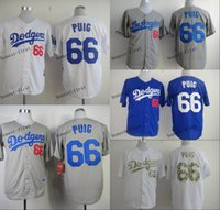 Men los angeles - los angeles dodgers yasiel puig Cheap Wholesales Baseball Jersey Embroidery Name and Logo EME DHL