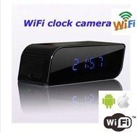 Wholesale mini P2P network camera clock HD P night vision wifi Cam Mobile Alarm security camera wc005ga