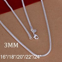 Wholesale High quality MM inches sterling silver snake chain necklace unisex necklaces jewelry fashion jewelry