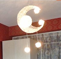 Wholesale LED G4 light source Moon Star modern Children Kid Child Bedroom novelty Pendant Lamp Chandelier Light Ceiling Aluminum